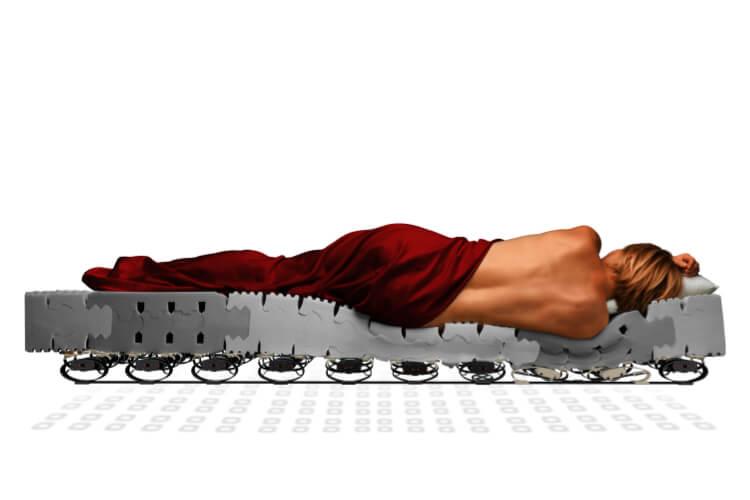 Das Bild verdeutlicht die Anpassung der Matratze an den Schlafenden